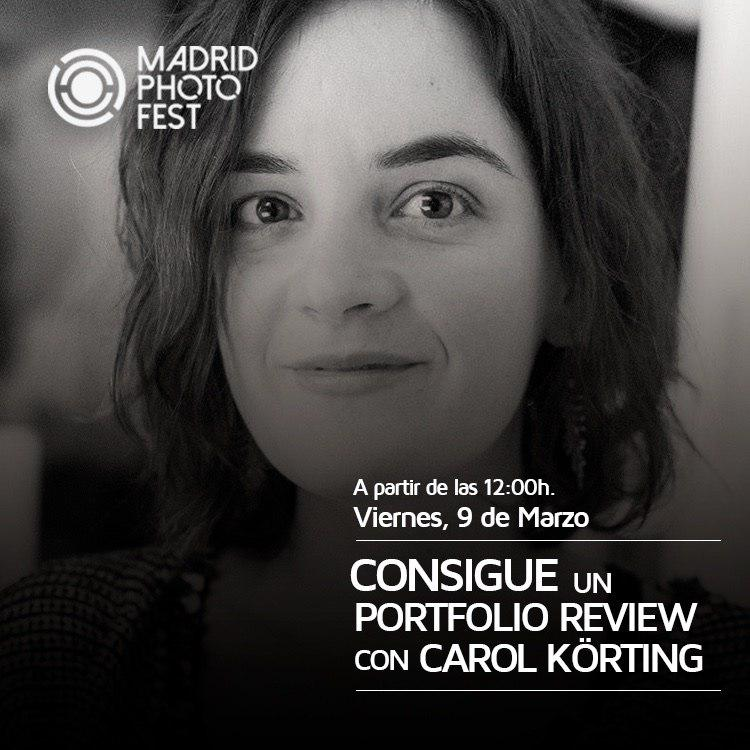 Cartel del portfolio review de Carol Körting en Madrid Photo Fest